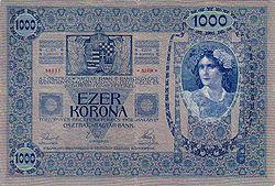 1903年发行的1000奥匈帝国克朗反面