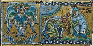 Medieval style portrait of Cherub and Heraclius receiving the submission of Khosrau II; plaque from a cross (Champlevé enamel over gilt copper).
