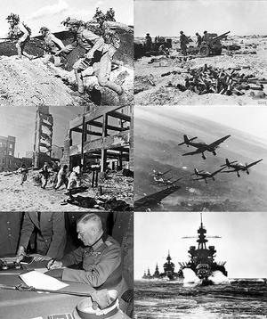 第二次世界大战各地的战争场景。