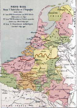 十七省的地图, 1581年分裂的国家用红色标注