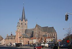 Eeklo town hall, church, and market square