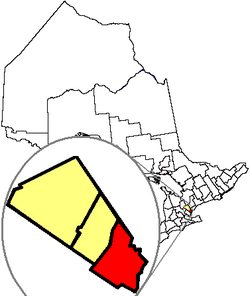 Location of Mississauga in the Regional Municipality of Peel in the province of Ontario
