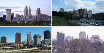 (Counterclockwise from top) Skylines of Cleveland, Akron, Canton, and Youngstown