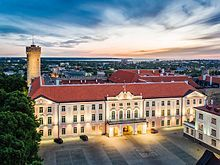 Toompea Castle pink stucco three-story building with red hip roof