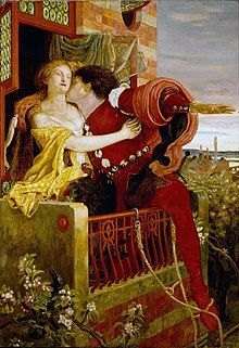 An 1870 oil painting by Ford Madox Brown depicting the balcony scene in Romeo and Juliet