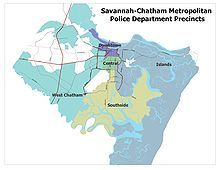 A map showing the 2009 precincts of Savannah-Chatham Metropolitan Police Department.
