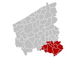 科特赖克区在西佛兰德省的位置