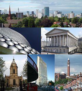 从左上方开始: 伯明翰市中心的天际线,埃德巴斯顿板球场; 塞尔福里奇百货,Bull Ring; 伯明翰市政厅; 圣菲利普大教堂; 阿尔法塔; 伯明翰大学.