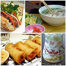Photographs of a phở noodle dish, a chè thái fruit dessert, a chả giò spring roll and a bánh mì sandwich