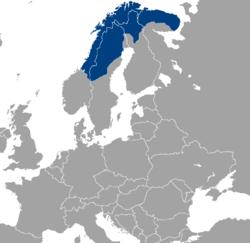 萨米地区在欧洲的位置