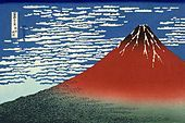 """Hokusai color print """"Red Fuji southern wind clear morning"""" from Thirty-six Views of Mount Fuji"""
