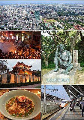 Clockwise from top: Downtown Tainan, Statue of Yoichi Hatta, THSR Tainan Station, Dan zai noodles, Fort Provintia, Beehive firework in Yanshuei.