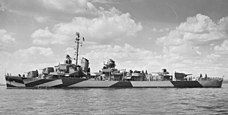 A destroyer ship on the water