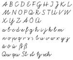 """Alphabet sample of German """"Vereinfachte Ausgangsschrift"""""""