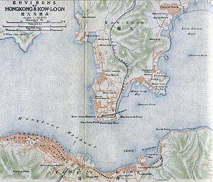 """1915年的香港地图, 右上方""""Chinese Town""""为九龙寨城"""