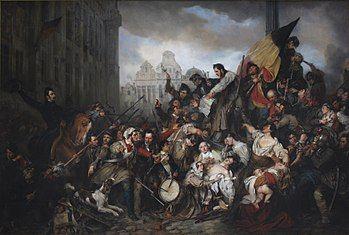 Wappers - Episodes from September Days 1830 on the Place de l'Hôtel de Ville in Brussels.JPG