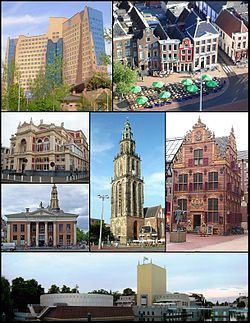 Montage of buildings in the city of Groningen divided by thin lines