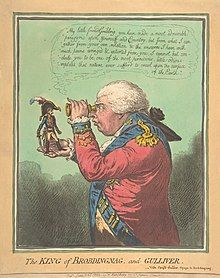 A span-high Napoleon stands on the outstretched hand of a full-size George III, who peers at him through a spy-glass.