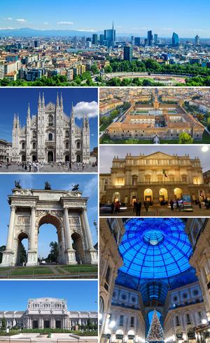 米兰景观。由上顺时针依序:新门商务区天际线、斯福尔扎城堡、斯卡拉大剧院、埃马努埃莱二世拱廊街、米兰中央车站、和平之门、米兰大教堂