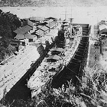 1928年三菱长崎干船坞内正在建设中的羽黑号