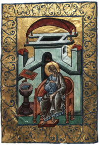 Miniature of an old man at a writing desk