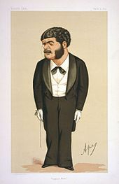 Colour cartoon of Sullivan standing, in concert dress, wearing a monocle, ready to conduct