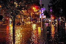 Lower Manhattan's AvenueC is seen flooded.
