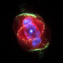 类似猫眼睛组织的影像。一个明亮的白点描绘出针尖大小的中央恒星,几乎就精确地位于影像的中心。中央恒星由在三度空间呈椭圆形,表面有着不规则边缘的壳层区域包围着。这是一个被有着黄色和绿色边缘包覆叠加的红色的区域,暗示有着另一个三度空间的壳层。