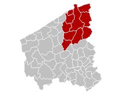 布鲁日区在西佛兰德省的位置