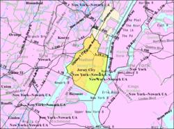 人口普查局的泽西市地图