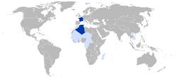 1939年末法兰西共和国的领土和殖民地 深蓝色: 法国本土 浅蓝色: 法国殖民地