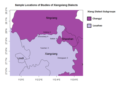 Sample Locations of Xiangxiang Dialect Studies