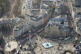Trafalgar Square, a major junction in the city