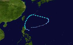 热带风暴宝霞的路径图