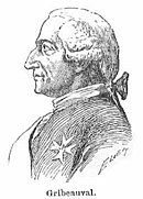 Black and white sketch of a man in profile wearing a late 18th century wig. He has the Order of Saint-Louis pinned to his uniform.