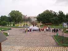 People in a garden