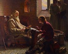 Bede translating the Gospel of John on his deathbed, by James Doyle Penrose, 1902. Depicts the Venerable Bede as an elderly man with a long, white beard, sitting in a darkened room and dictating his translation of the Bible, as a younger scribe, sitting across from him, writes down his words. Two monks, standing together in the corner of the room, look on.