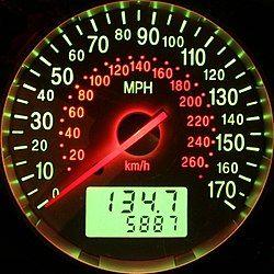 同时显示英制和公制单位的汽车速度表