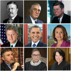 This is a collage of prominent liberals in the United States. From left to right, top to bottom: Theodore Roosevelt, Franklin Delano Roosevelt, John Fitzgerald Kennedy, Bill Clinton, Barack Obama, Nancy Pelosi, Paul Krugman, Ruth Bader Ginsburg, Sonia Sotomayor