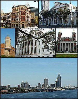From top: Pincus Building, Old City Hall and Southern Market, Fort Charlotte, Barton Academy, Cathedral Basilica of the Immaculate Conception, and the skyline of downtown from the Mobile River
