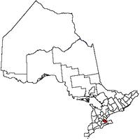 哈密尔顿市在安大略省的位置