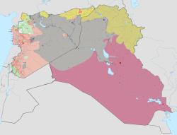 伊斯兰国政权的最大控制范围(2015年5月)[注 1]  由伊斯兰国控制  由叙利亚反对派控制  由叙利亚政府控制  由伊拉克政府控制  由黎巴嫩政府控制  由努斯拉阵线控制  由叙利亚库尔德人控制  由伊拉克库尔德人控制  由黎巴嫩真主党控制  由土耳其政府控制