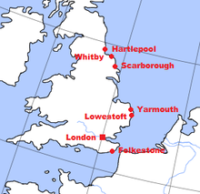 A map of England, with towns bombarded during the war marked. All are in the east.