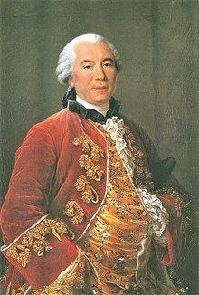 Painting of a portly gentleman in a powdered grey wig and richly embroidered clothes.