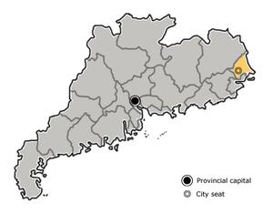 图中高亮显示的是潮州市