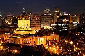 Skyline of Winnipeg at night