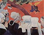 Paul Gauguin painting The Vision After the Sermon from 1888 nuns gathering around a small angel