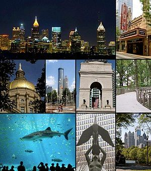 最上左方从巴克海特望去的亚特兰大夜晚天际线;最上右为福克斯剧院;中最左为佐治亚州议会大厦;中左为百年奥林匹克纪念公园;中右为千禧门;中最右为亚特兰大植物园内的天篷走道;最下左为乔治亚水族馆;最下中为凤凰青铜纪念碑;最下右为亚特兰大市中心天际线