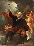 """""""Benjamin Franklin Drawing Electricity from the Sky"""" by Benjamin West"""