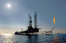 Oil production using drilling platform, on the offshore of Turkmenistan